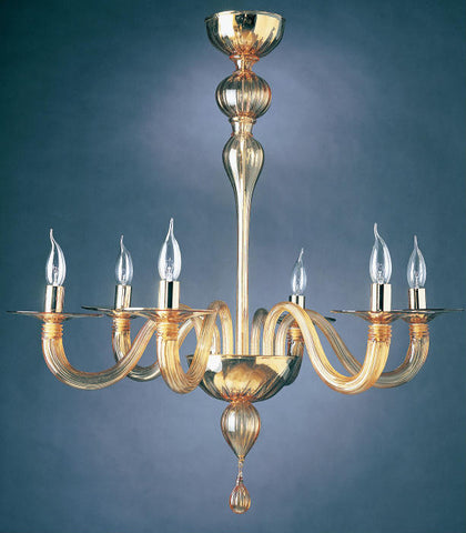 6 Light Murano glass chandelier with golden decorations