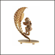 Angel and leaf gold table lamp