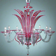 8 Arm red Murano Glass Chandelier
