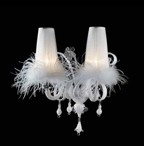 Modern white glass wall light with white feather- trimmed shades