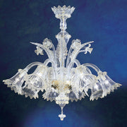 8 Light clear Murano glass flower chandelier & gold trim