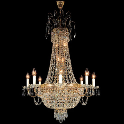Gold-plated Swarovski Spectra crystal empire chandelier