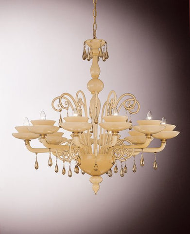 Smoked glass and white Murano chandelier