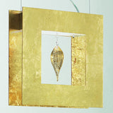 Gold leaf ceiling pendant with gold glass teardrop