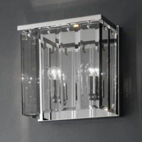 Roma smoked glass and chrome modern Italian wall light