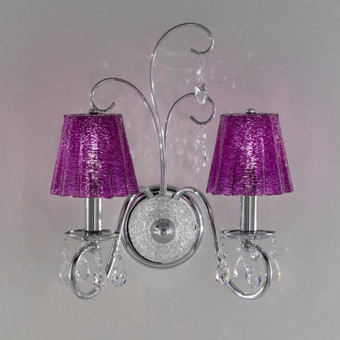 Swarovski crystal wall lamp with spun purple glass shades