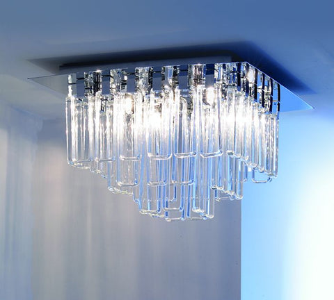 Milady shiny chrome ceiling light with 44 glass lozenges
