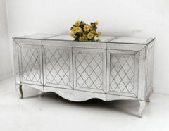 Clear Venetian mirrored sideboard with etched diamond design