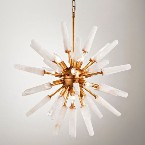 Mid-century Sputnik-style chandelier with rock crystal