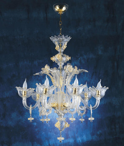 Luxury Muranese 6 light chandelier in a range of colours