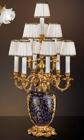 10 light blue and gold porcelain table lamp