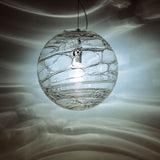 Spherical glass pendant with bubble design