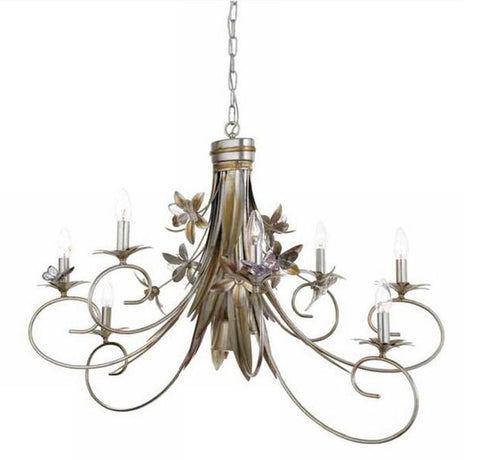 Chandelier in Silver Metal with Glass Butterflies