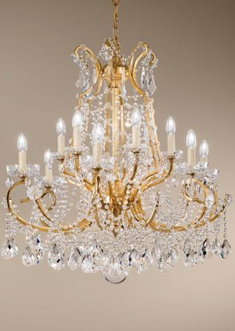 Gold Chandelier with Bohemian Crystals