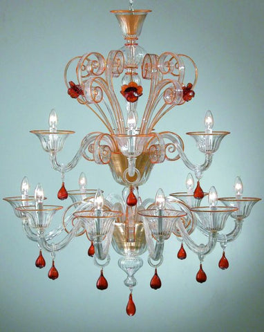 Large topaz and clear glass Murano flower chandelier