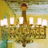 Oversized Gilt Leaf Chandelier
