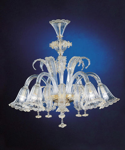 Venetian clear glass chandelier with flowers & 6 'bell' shades