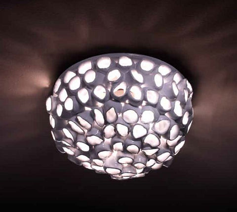Modern white high gloss circular ceramic ceiling light