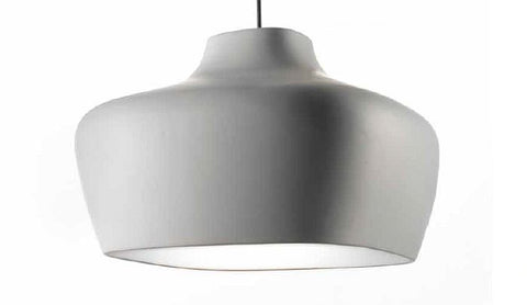 Grey ceramic bespoke ceiling pendant with white interior