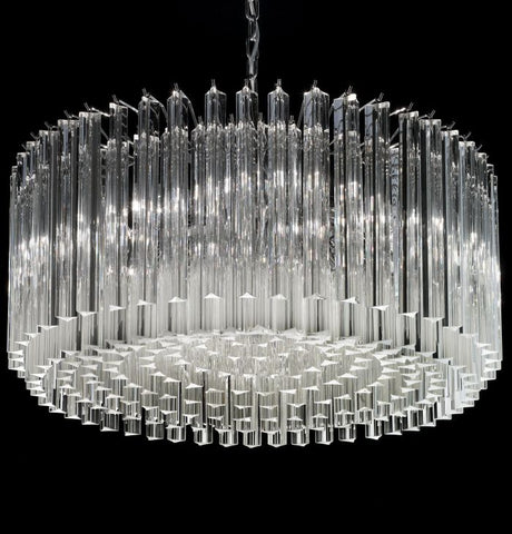 Mid century-style triedri prism drum chandelier in 6 sizes