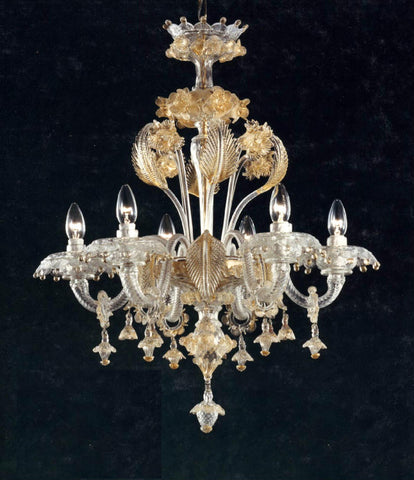 Clear Murano glass 6 light chandelier with golden flowers