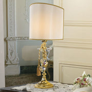 Gold plated table lamp with heart shaped crystal pendants