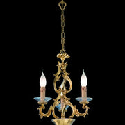 3 Light Louis 15th-style gold & Murano glass chandelier