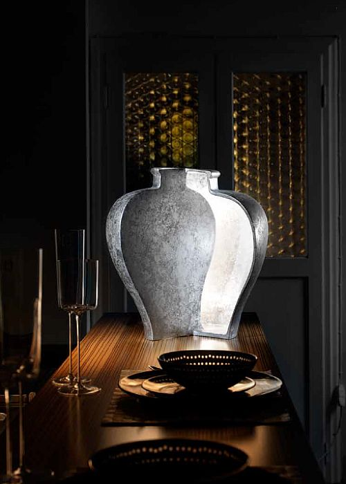 Modern bespoke Chinese-style table light with silver leaf finish