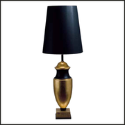 Wooden table lamp in black and gold