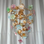 Pastel pink blue and green Venetian glass flower light