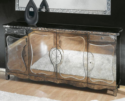 1930s art deco-style sideboard in Venetian mirrored glass