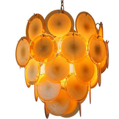 Modernist mid-century disc chandelier in custom colours