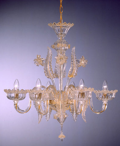 Gold and crystal Murano glass pastoral chandelier