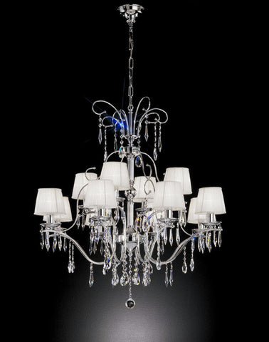 Chrome Chandelier with Organza Shades