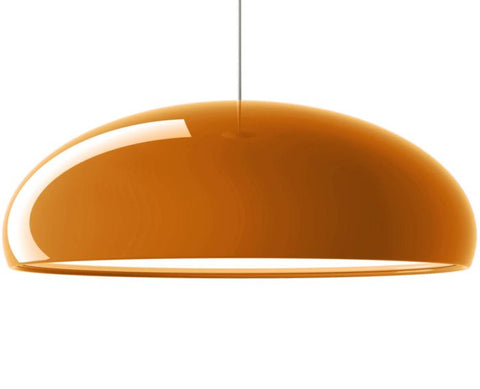 Shiny orange modern metal pendant light with acrylic diffuser