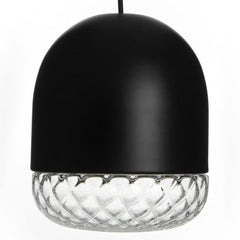 Copper or black pendant light with Murano balloton glass shade