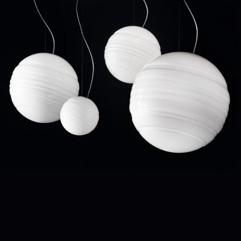 Simple & minimal white Murano glass globe pendant light