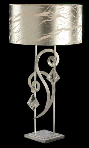 Bohemian crystal and silver leaf table light with shade