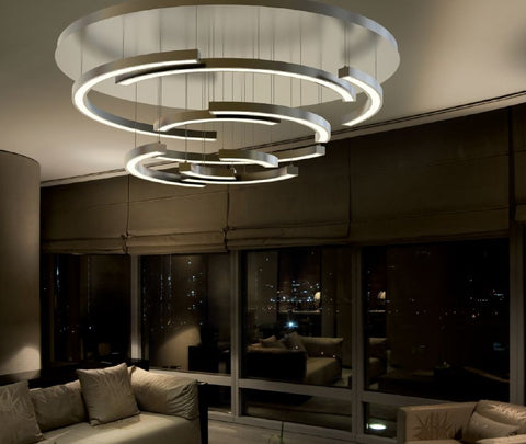 Sophisticated large Italian LED ceiling light in 4 stylish metal finishes