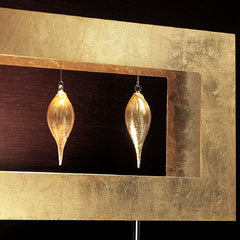 Gold leaf floor light with three golden glass teardrop pendants
