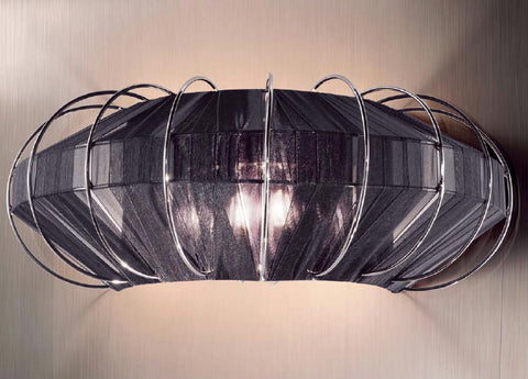 Modern chrome wall light with fabric diffuser in 5 colours