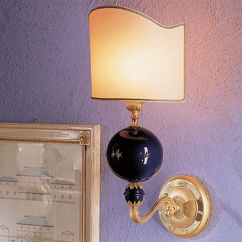 Gold-plated Italian wall lamp with navy blue enamel globe