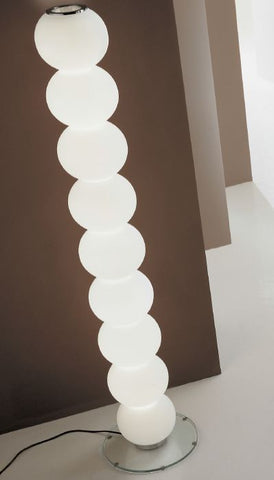 Tall white handblown Murano glass floor lamp