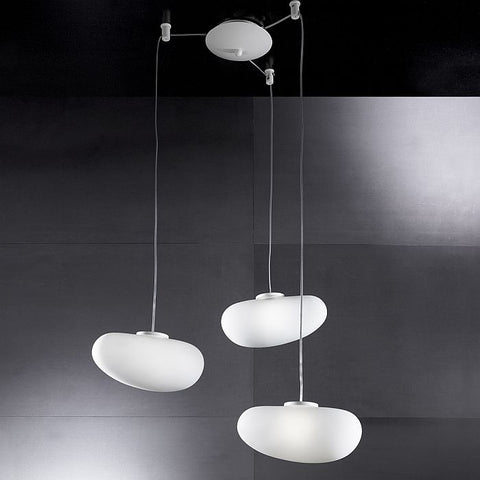 Italian white glass triple ceiling pendant