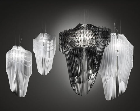 Large architectural suspension light in black or white