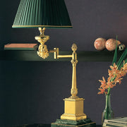 Issorie green marble and gold lamp with 'lost wax' angel