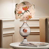 Grey Murano glass table lamp with colourful flower