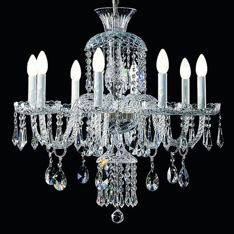 Cut glass & Italian lead crystal chandelier with 8 lights