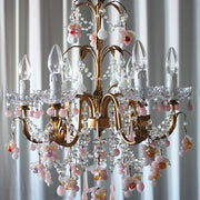 Pink & white Murano glass 6 light grape chandelier - sale price
