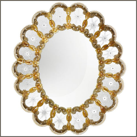 Circular Venetian mirror with lovely amber Murano glass detail